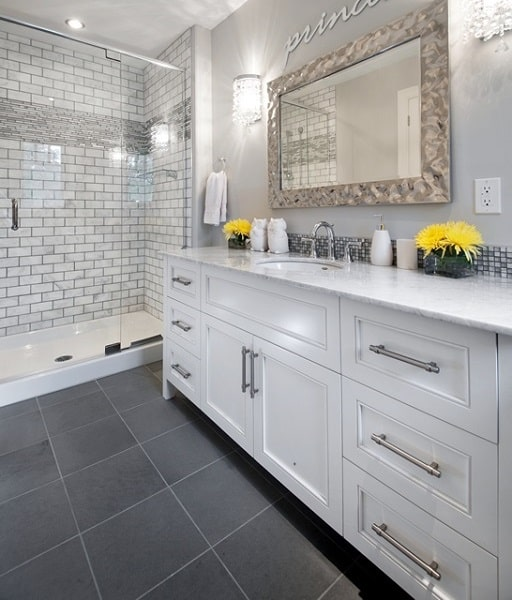 This Vanity Is Perfect For The Long, Narrow Space, And Provides Great  Storage And Counter Space Without Interfering With Shower Access.