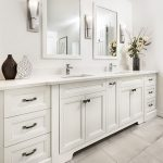 White Bathroom with Soaker Tub and Walk-In Shower
