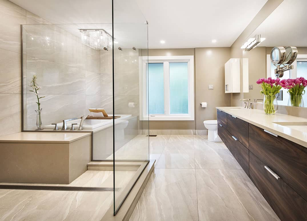 Taupe Bathroom with Soaker Tub and Glass Walled Shower