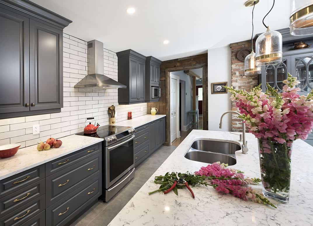 Kitchen - Grey Cabinets with Marble Countertops