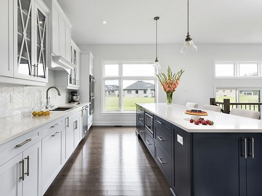 ... Incorporates Black, But Blends Nicely With The White Cabinets And Brown  Floor To Create A Timeless Neutral Space. Laurysen Kitchens Design Gallery.