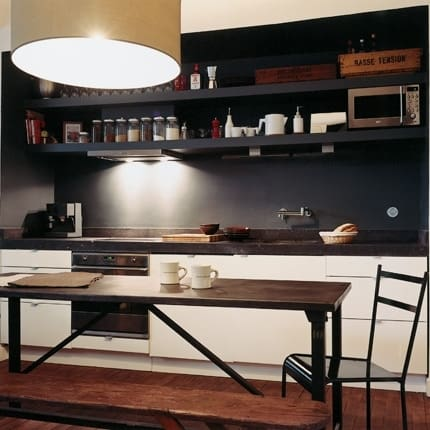 A Black Wall Gives This White And Wood Kitchen Some Drama And  Sophistication. Photo Credit: Pinterest.