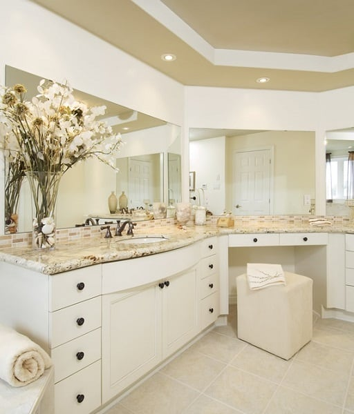 Vanity Mirrors For Bathroom This luxurious sit-down vanity is made more luxurious by the triptych  mirrors. Laurysen Kitchens Bathroom Design Gallery.
