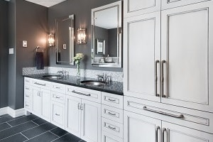 grey bathroom white cabinets
