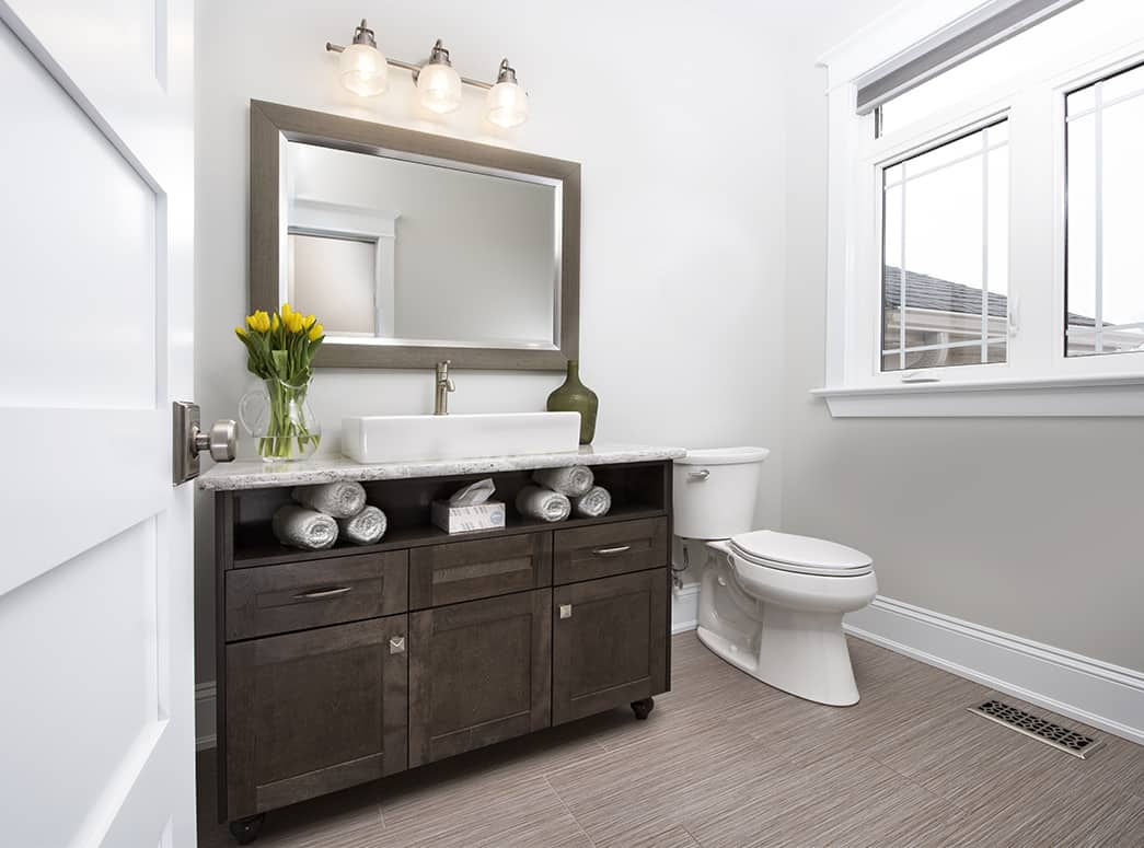 Bathroom Gallery: Powder Room with Dark Brown Vanity