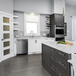 grey kitchen dark and light cabinets contemporary