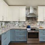kitchen with blue and cream cabinets