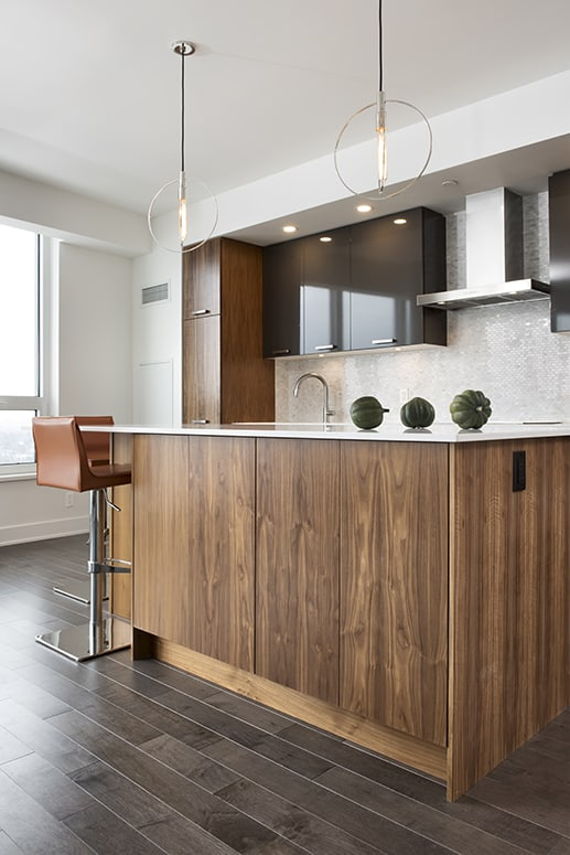 kitchen wood and grey cabinets with white countertops