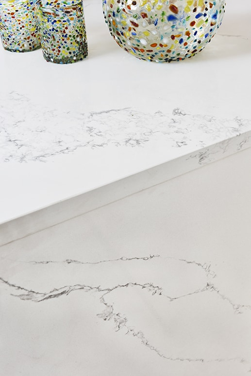 detail of white marble-effect countertop