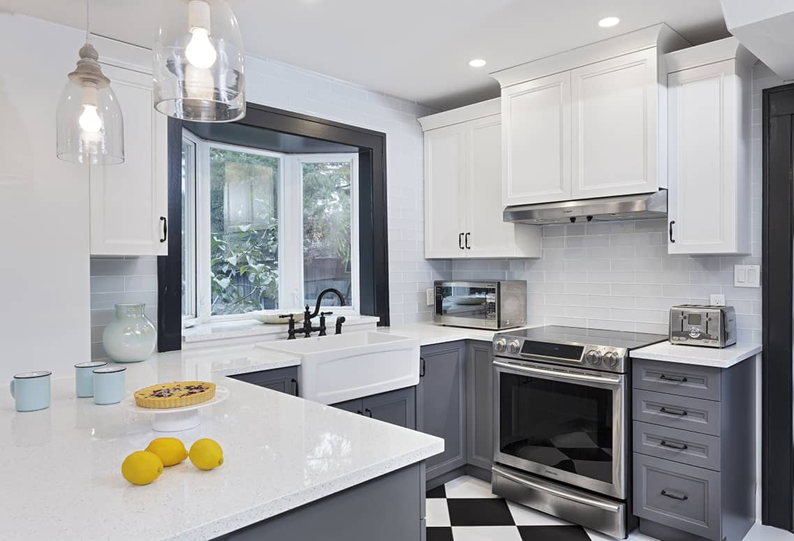 Kitchen Gallery - White and Grey Cabinets Combination