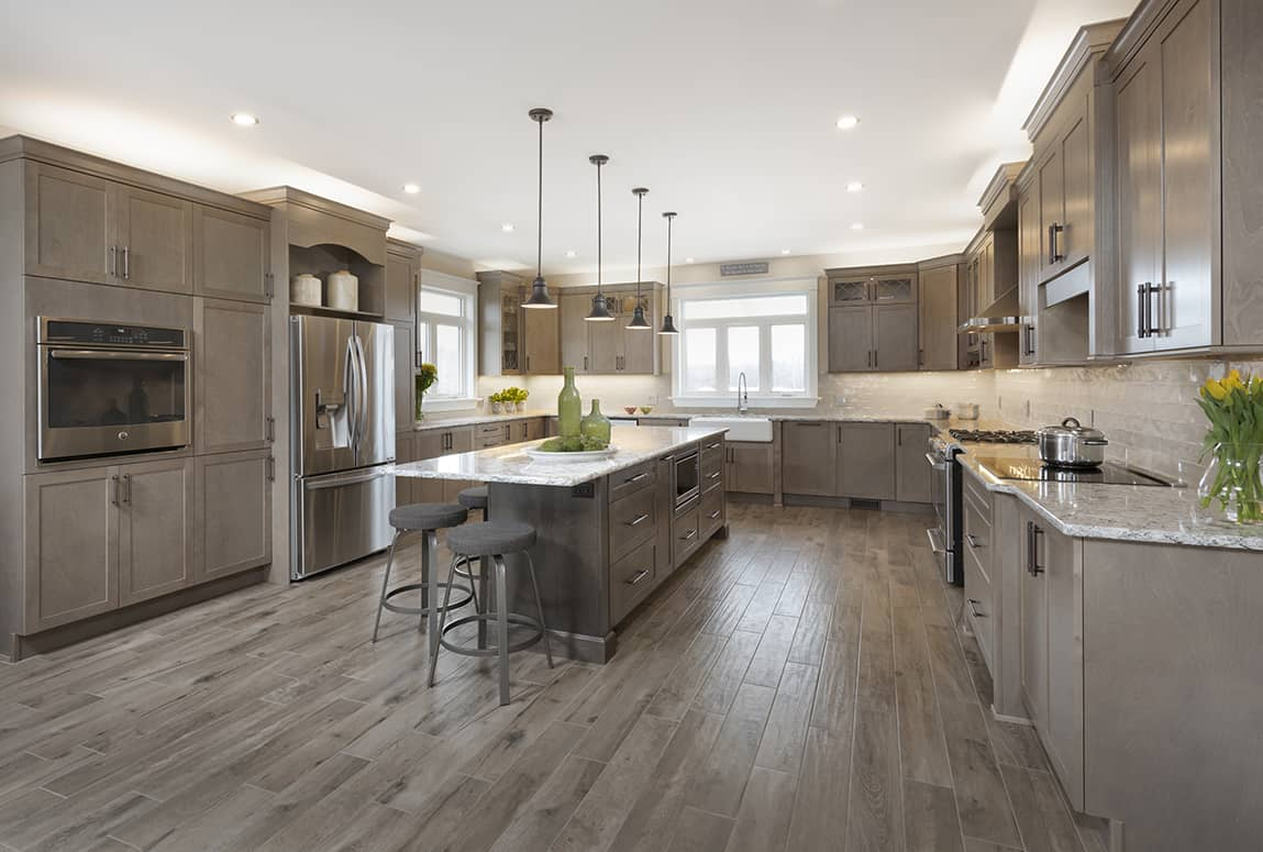 Kitchen Gallery Taupe Cabinets And Flooring With Granite Counters