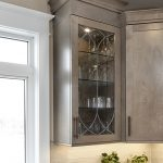 taupe wood cabinet with glass front