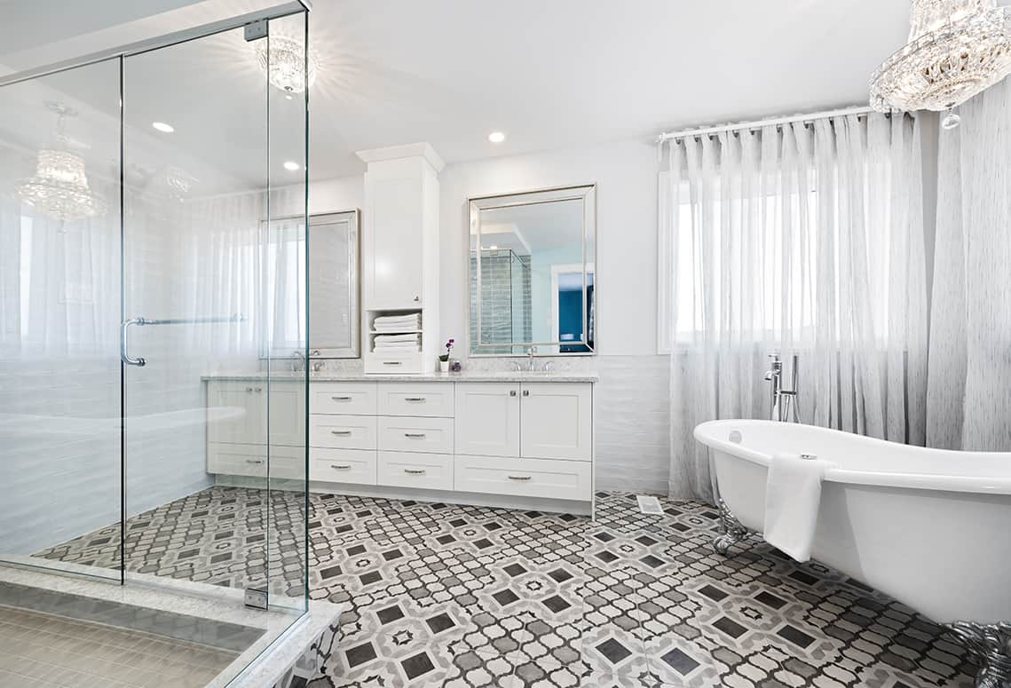 white bathroom with patterned tile floor
