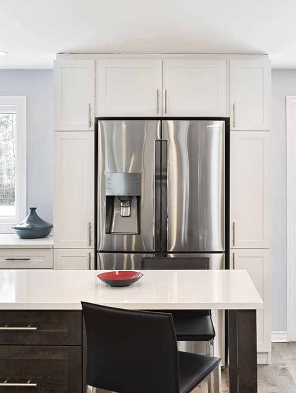light kitchen white cabinets and counters with dark island contemporary